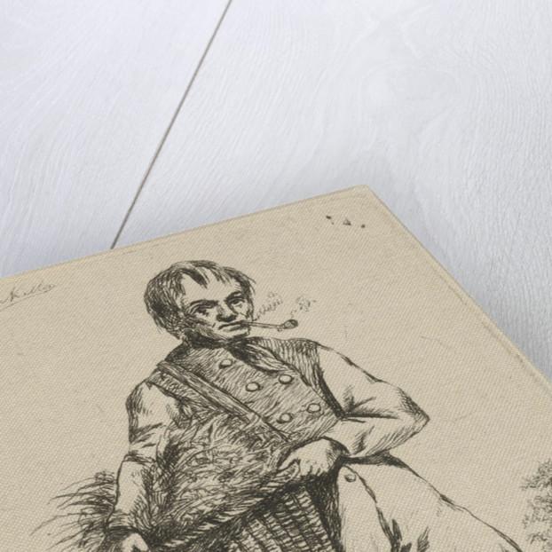 With a basket under his arm and a lantern in hand, walks a pipe-smoking gardener outdoors by David van der Kellen II