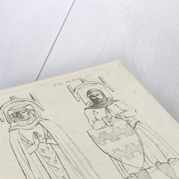 Pictures of Jan van Arckel and his wife at their tomb in the Grote Kerk in Gorinchem by Workshop of D. van den Bosch