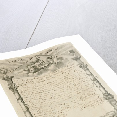 Diploma of the Masonic Lodge l'Union Royale in The Hague by Paulus Constantijn la Fargue