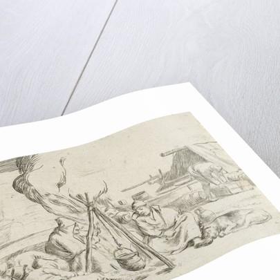 Five soldiers around a campfire by Jan van Ossenbeeck