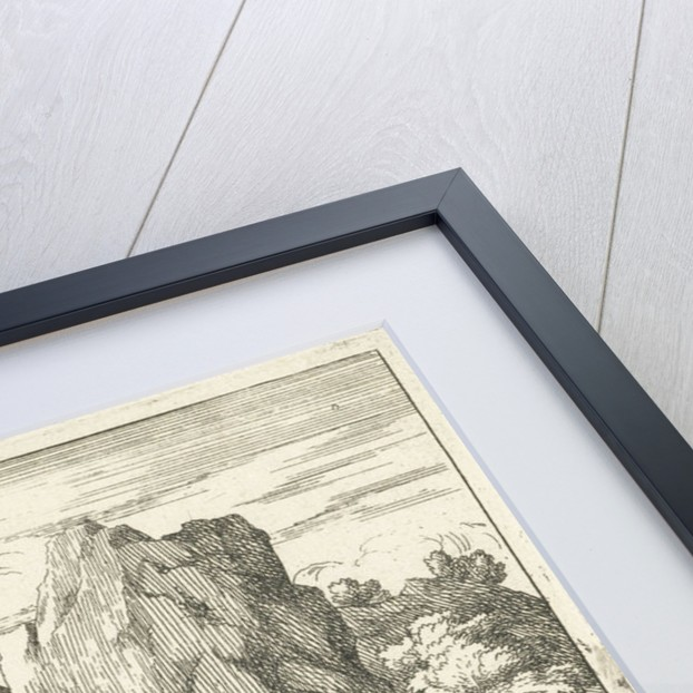 Landscape with large rock in a river by Adam Frans van der Meulen