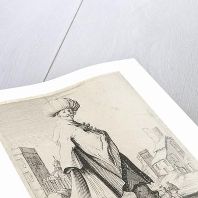 Man with turban near a city by Clement de Jonghe