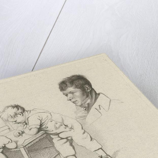 Two children drawing portraits of U Zealander and Anthony Oberman by Hendrik Willem Caspari