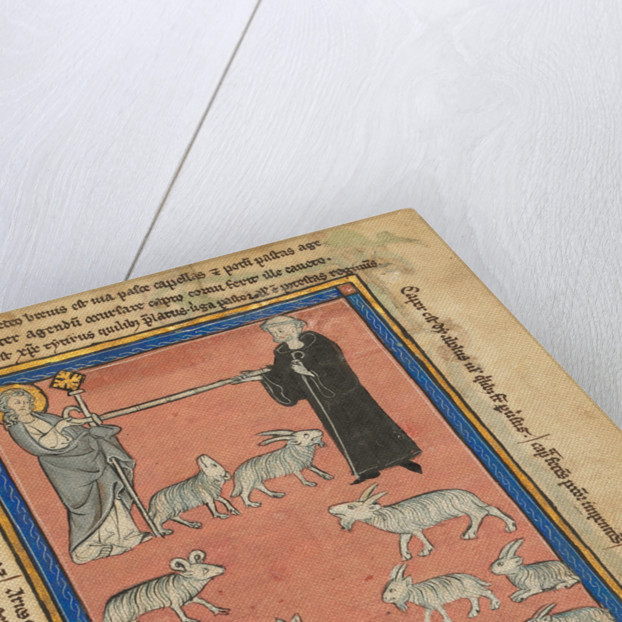 Christ and a Monk Holding the Ends of a Staff and Two Shepherds with their Flock by Anonymous