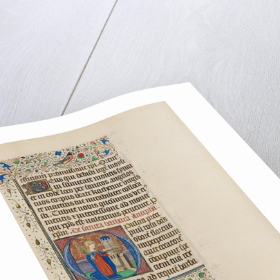 Initial O: Saint Barbara before a Tower by Master of the Llangattock Hours