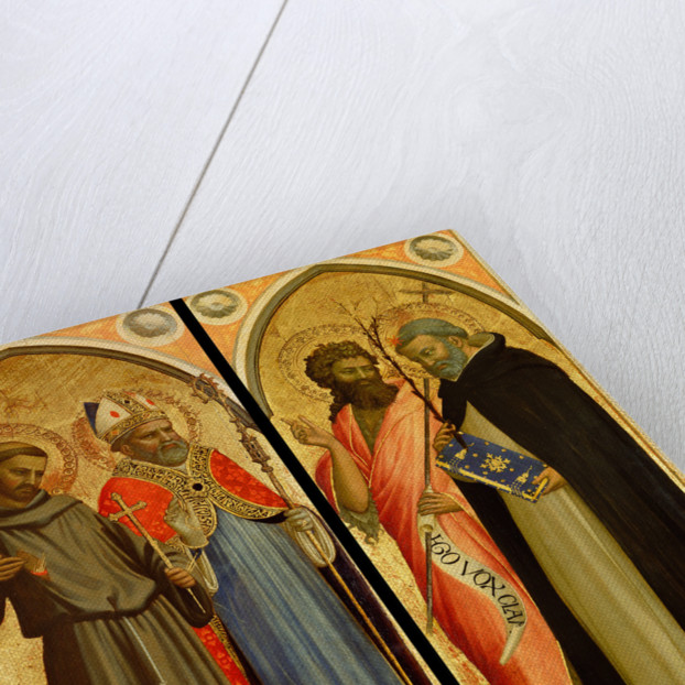 Saint Francis and a Bishop Saint, Saint John the Baptist and Saint Dominic by Fra Angelico