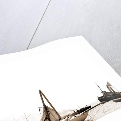 Columbia, steel mast carried away, Columbia (Sloop), 1899 by Anonymous