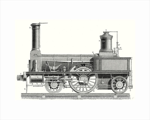Sideview of a Locomotive Showing the Mechanism of the Engine by Anonymous