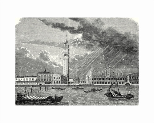 The Tower of St. Mark's in Venice Struck and Damaged by Lightning April 23 1745 by Anonymous