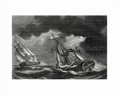 The Ship of Captain Cook is Spared Thanks to His Lightning Rod While a Dutch Ship is Almost Struck by Lightning by Anonymous