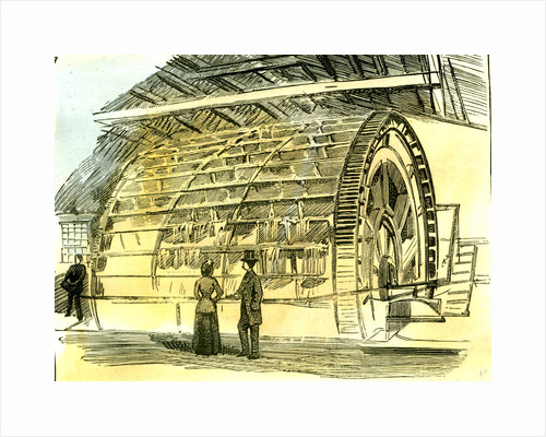 Aberdeen Water-Wheel at the Granholm Tweed Mills 1885 UK by Anonymous