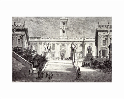 Rome Italy 1875 Facade of the Senatorial Palace on the Capitol Museum Palace of the Conservators the Dioscuri by Anonymous