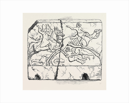 Flight of an Arab Mounted Upon a Camel; Nimroud Sculptures, Just Received at the British Museum by Anonymous