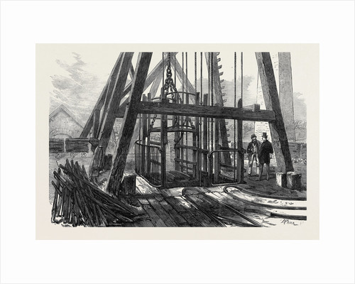 The Staffordshire Colliery: Top of the Shaft and Cage for Descending 1873 by Anonymous