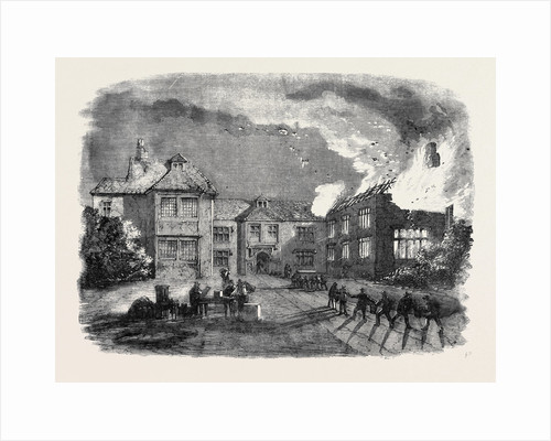 Destruction by Fire of Birdingbury Hall Warwickshire from a Sketch by Mr. R.G. Sweeting of Southam by Anonymous