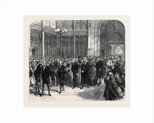 Meeting of the Reformed Parliament: Procession of the Speaker of the House of Commons to the Bar of the House of Lords London 1869 UK by Anonymous