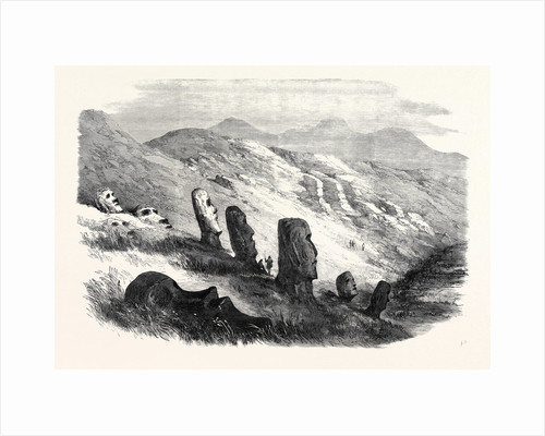 Group of Images Inside the Crater of Otuiti Easter Island 1869 by Anonymous