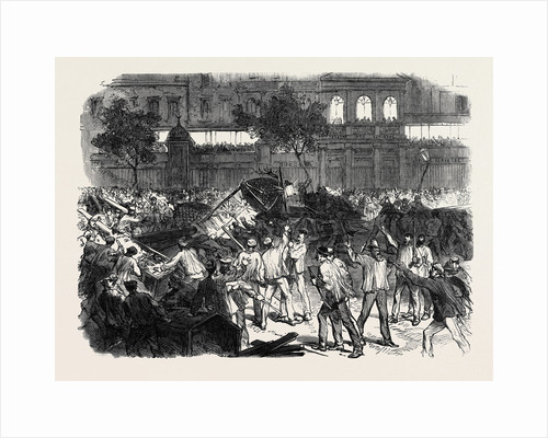 The Disturbances in Paris: The Mob Attempting to Construct a Barricade on the Boulevard Montmartre Opposite the Cafe Des Varietes 1869 France by Anonymous