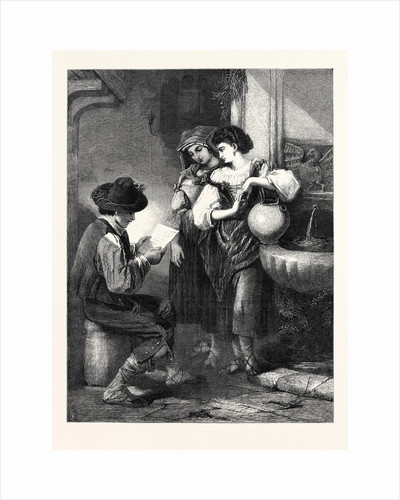 The Letter, in the Exhibition of the Society of Painters in Water Colours 1869 by Anonymous