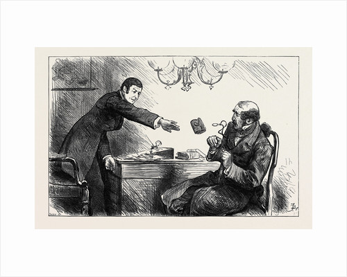 The Usurer However Chucked Him Scornfully an Old Pocket-Book with a Ten-Pound Note Inside Saying. 'There 's Your Own Money Back Again with Interest Magpie!' 1880 by Anonymous