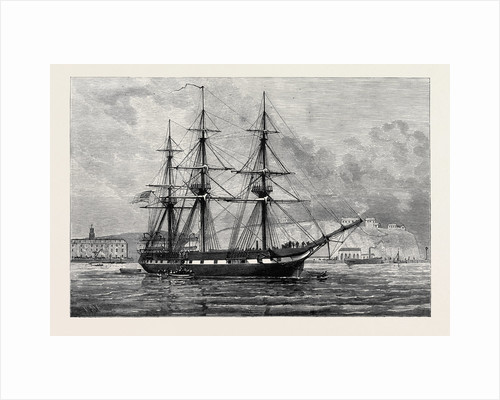 The United States Frigate Constellation with Relief Stores for Irish Distress Off Haulbowline in Cork Harbour 1880 by Anonymous