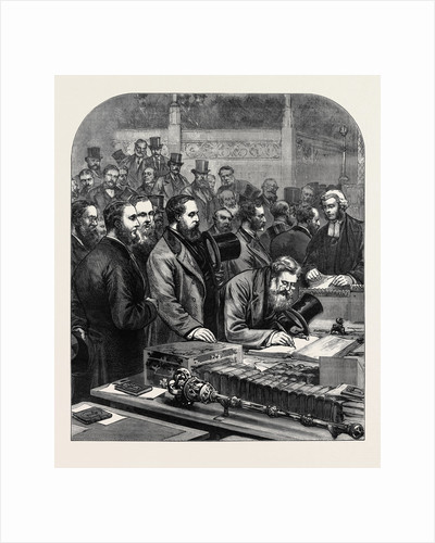 The New House of Commons: Members Signing the Roll of Parliament 1880 by Anonymous