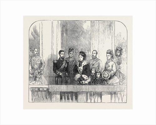The Queen and Duke and Duchess of Edinburgh at the Balcony at Buckingham Palace London 1874 by Anonymous