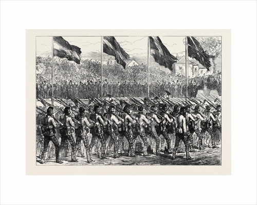 Return of the Troops from Ashantee: The Black Watch (42nd Highlanders) Marching to Governor's Green Portsmouth 1874 by Anonymous