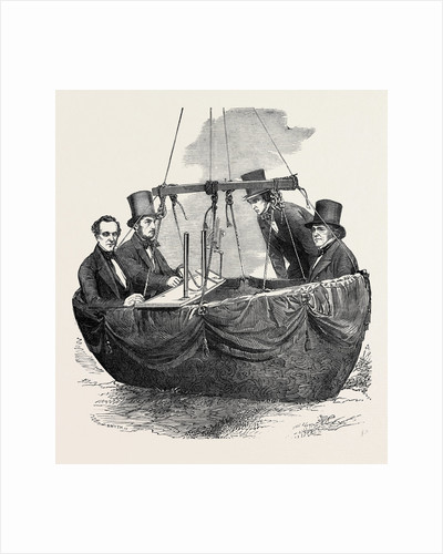 Scientific Balloon Ascent from Vauxhall Gardens, London, 1852; Mr. Nicklin, Mr. Welsh (Second from Left), Mr. Adie (Second from Right), Mr. Green by Anonymous