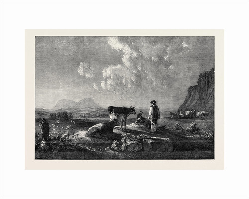 Cowherds and Cattle, in Evening. Landscape by Anonymous