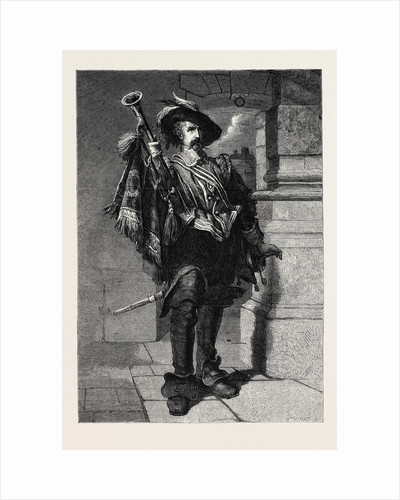 A Trumpeter, from the Exhibition of the Institute of Painters in Water Colours 1867 by Anonymous