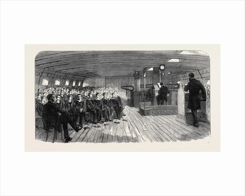 Divine Service on Board the Training Ship Indefatigable at Liverpool UK 1866 by Anonymous