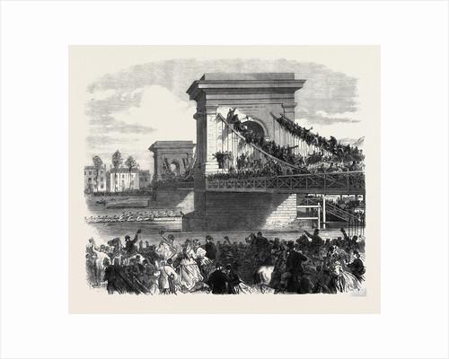 The Oxford and Cambridge University Boat Race: Scene at Hammersmith Bridge London UK 1866 by Anonymous