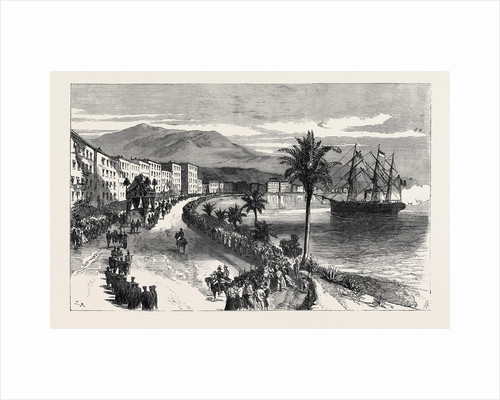 Funeral Procession of the Late King of Bavaria at Nice: The Cortége Passing Along the Promenade Des Anglais 1868 by Anonymous
