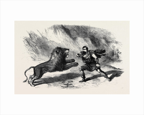 Mr. Crockett the Lion Tamer Performing with His Lions at Astley's Theatre the Lion Conqueror or the Death Jungle by Anonymous