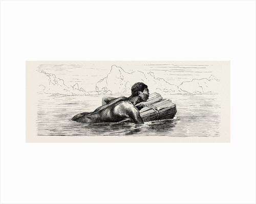 Nubian Swimming On A Bundle of Reeds by Anonymous