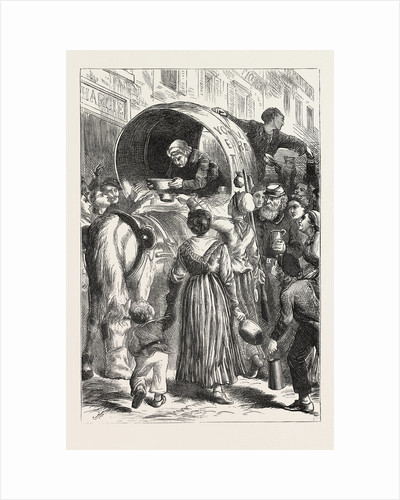 Selling Milk in the Street, Paris, France, 1870 by Anonymous