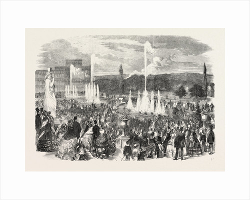 The First Display of the Fountains on the Upper Terrace of the Crystal Palace, London, 1855 by Anonymous