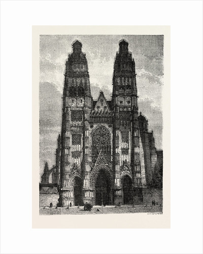 Facade of the metropolitan church of Tours, France by Anonymous