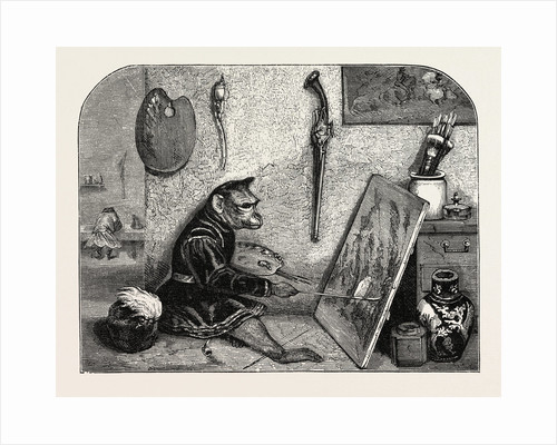 Salon of 1855. Monkey Painter, Engraving 1855 by Anonymous