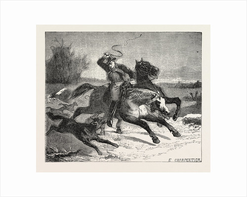 Salon of 1855. French School. Postilion Attacked by Wolves, Engraving by Anonymous