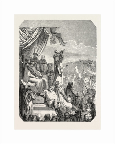 Salon of 1855. Preaching of the Second Crusade by St. Bernard, Engraving by Anonymous