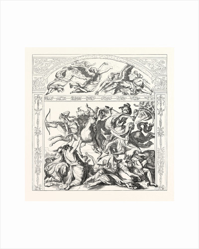 Salon of 1855. Prussian School. The Seven Angels and the Four Horsemen of the Apocalypse, Engraving by Anonymous