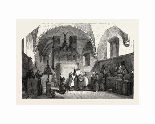 Monks of St. Francis Singing a Te Deum, Engraving 1855 by Anonymous