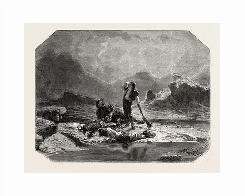 Salon of 1855. Swiss School. Stop Hunting Chamois, Engraving by Anonymous
