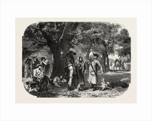 School Baden and Nassau. Gypsies, Engraving 1855 by Anonymous