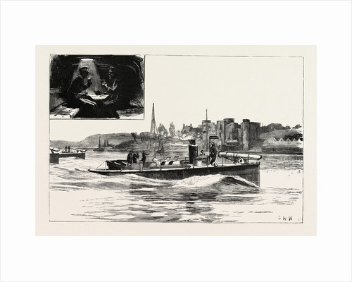 Ancient Defence and Modern Offence, Torpedo Boats Passing Upnor Castle by Anonymous