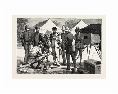 Fixing the Negative, Mr. Burke Posing the Ameer, the Ameer Yakoob Khan at Gandamak, Afghan War by Anonymous