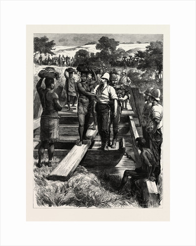 Signs of Peace Zulu Women Crossing a Temporary Bridge Built by the Royal Engineers, the Zulu War by Anonymous