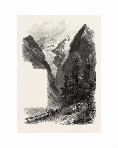 On the Stelvio Pass, the Alps, Italy,19th Century Engraving by Anonymous